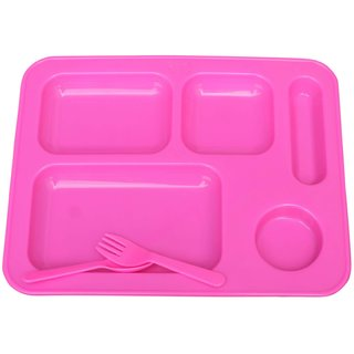 Glasified Full Meal Kiddy Plate - Pink (Pack Of 3)