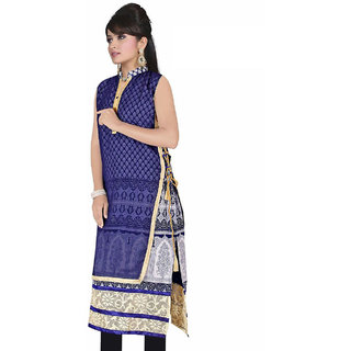 Nilkanth Enterprise Blue Chiffon stitched Straight Kurtis