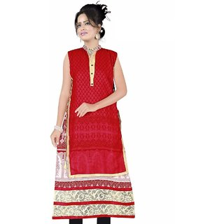 Nilkanth Enterprise Red Chiffon stitched Straight Kurtis