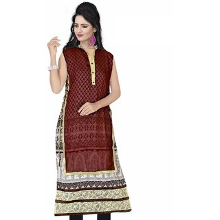 Nilkanth Enterprise Maroon Chiffon stitched Straight Kurtis