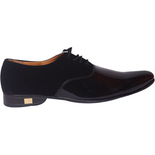 Mclaine Premium Black Velvet Shiny Design Party Wear Shoe