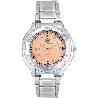 Shostopper Orange Dial Metallic Analogue Watch For Men - SJ60037WM