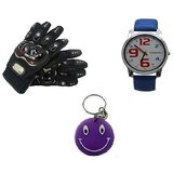 Combo Of Universal Pro Biker Gloves+ Morelife Men's Watch Blue Free Smiley Chain