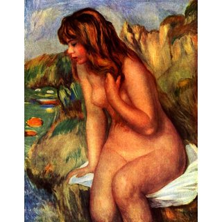 The Museum Outlet - Bathing sitting on a rock - Poster Print Online Buy (24 X 32 Inch)