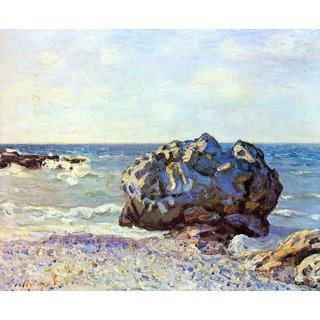 The Museum Outlet - Bay of long-country with rock by Sisley - Poster Print Online Buy (24 X 32 Inch)