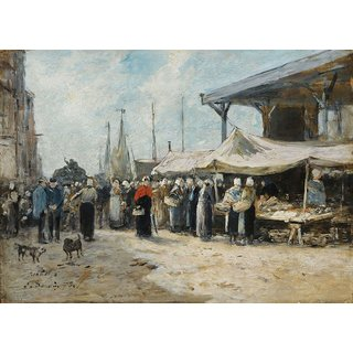 The Museum Outlet - Trouville, Fishing Market, 1875 - Poster Print Online Buy (24 X 32 Inch)