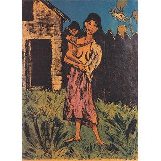 The Museum Outlet - Otto Mueller - Stehende Zigeunerin mit Kind auf dem Arm - 1926-27 - Poster Print Online Buy (24 X 32 Inch)