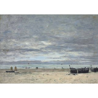 The Museum Outlet - Berk, Beach in a Harbour, 1882 - Poster Print Online Buy (24 X 32 Inch)