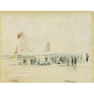 The Museum Outlet - Boats at Scheveningen, 1875-76 - Poster Print Online Buy (24 X 32 Inch)