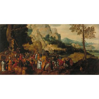 The Museum Outlet - Landscape with the Sermon of St. John the Baptist (ok.1550) (53 x 102) (, Nat. Museum of Art of Catalonia) - Poster Print Online Buy (24 X 32 Inch)
