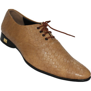Mclaine Premium Light Brown Textured Design Party Wear Shoes