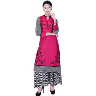 Heritage Jaipur Pink Printed Rayon Kurti  With Cotton Printed Palazzo