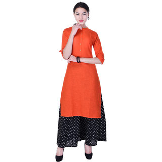 Heritage Jaipur Cotton Flux Solid Orange Kurti  With Rayon Solid Palazzo