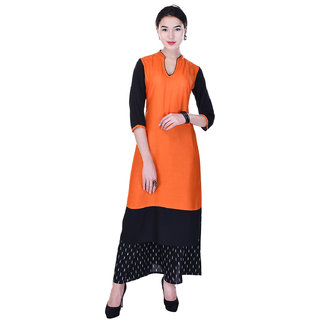 Heritage Jaipur Rayon Solid Orange Kurti  With Rayon Solid Palazzo