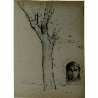 The Museum Outlet - Study of a Tree and Head of Christ - Poster Print Online Buy (24 X 32 Inch)
