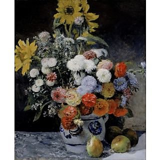 The Museum Outlet - Mixed Flowers in an Earthenware Pot, 1869 - Poster Print Online Buy (24 X 32 Inch)