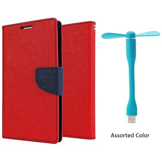 Micromax Bolt D320 WALLET FLIP CASE COVER (RED) With USB FAN