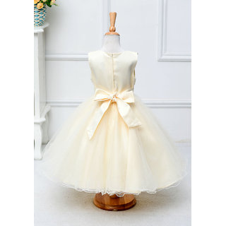 Light Yellow Garden Bow Party  Evening Frock