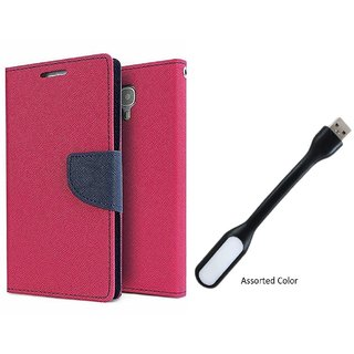 Reliance Lyf Wind 6 WALLET FLIP CASE COVER (PINK) With USB LIGHT