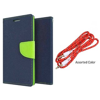 Micromax Canvas Juice 3 Q392 WALLET FLIP CASE COVER (BLUE) With AUX CABLE