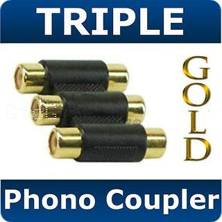 Qty 3 Triple 3 x RCA / Phono Coupler GoldQualty Adapter