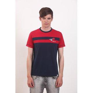Smokestack Cotton Round Neck Half Sleeves Men's CORE T-Shirt (Blue)