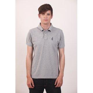 Smokestack Cotton V Neck Half Sleeves Men's Polo T-Shirt (Grey)