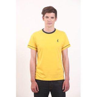 Smokestack Cotton Round Neck Half Sleeves Men's T-Shirt (Yellow)