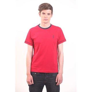 Smokestack Cotton Round Neck Half Sleeves Men's T-Shirt (Red)