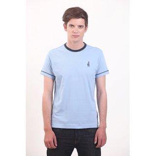 Smokestack Cotton Round Neck Half Sleeves Men's T-Shirt (Blue)