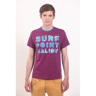 Smokestack Cotton Round Neck Half Sleeves Men's T-Shirt (Purple)