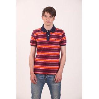 Smokestack Cotton V Neck Half Sleeves Men's Polo T-Shirt (Orange)
