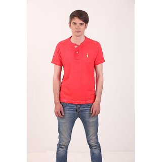 Smokestack Cotton Henley Neck Half Sleeves Men's Polo T-Shirt (Red)