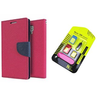 Micromax Canvas Juice 3 Q392 WALLET FLIP CASE COVER (PINK) With NANO SIM ADAPTER