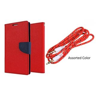 Samsung Galaxy On7 WALLET FLIP CASE COVER (RED) With AUX CABLE