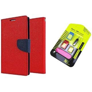 Motorola Moto E WALLET FLIP CASE COVER (RED) With NANO SIM ADAPTER