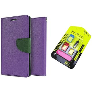 Reliance Lyf Flame 2 WALLET FLIP CASE COVER (PURPLE) With NANO SIM ADAPTER