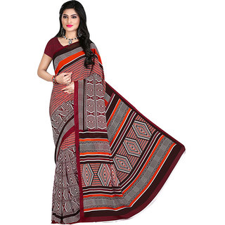 Mafatlal Red Silk Printed Saree With Blouse