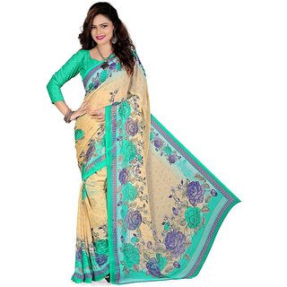 Mafatlal Cream Georgette Printed Saree With Blouse