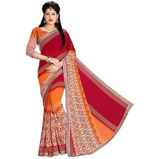 Mafatlal Multicolor Chiffon Printed Saree With Blouse