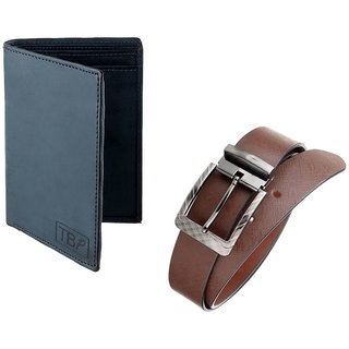 The Blue Pink Special Combo of 2 in1 Rich Pu Leather Wallet And Genuine Leather Belt(ALM07-ALB0802) (Synthetic leather/Rexine)