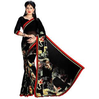 88f8bdf81728df Buy Mafatlal Black Chiffon Printed Saree With Blouse Online @ ₹1178 ...