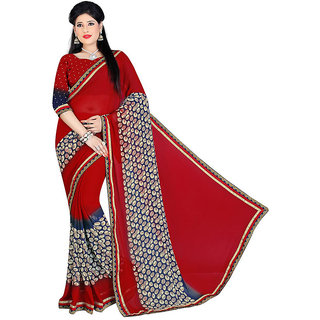 Mafatlal Red Chiffon Printed Saree With Blouse