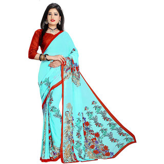 Mafatlal Green Georgette Printed Saree With Blouse