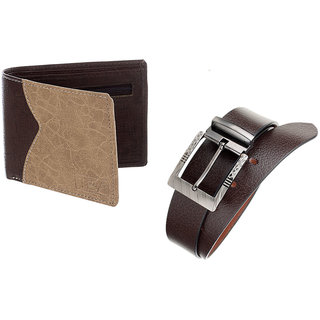 The Blue Pink Special Combo of 2 in1 Rich Pu Leather Wallet And Genuine Leather Belt (STU02-BRU0802)