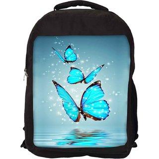 Snoogg Blue Butterfly Digital Designer Laptop Backpacks