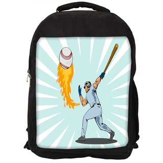 Snoogg Baseball Player Batting Ball Flames Designer Laptop Backpacks