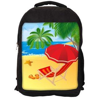Snoogg Tropical Beach Vector Designer Laptop Backpacks