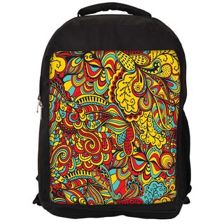Snoogg Vector Seamless Texture With Abstract Flowers Endless Background Ethnic Sea Designer Laptop Backpacks
