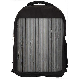 Snoogg Black Wood Digitally Printed Laptop Backpack